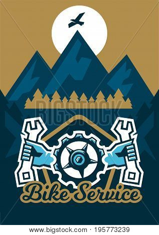 Vector illustration on the theme of extreme sport and mountain biking. Landscape, forest, fresh air. The invitation to the event. A bicycle sprocket and hand holding a wrench on the sides