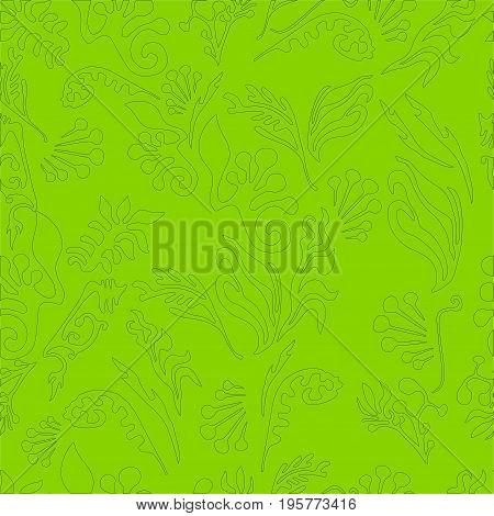 Grassbranch foliage monochrome seamless vector pattern. Design illustration art book textile print poster design fabric.Dark green outline light green background