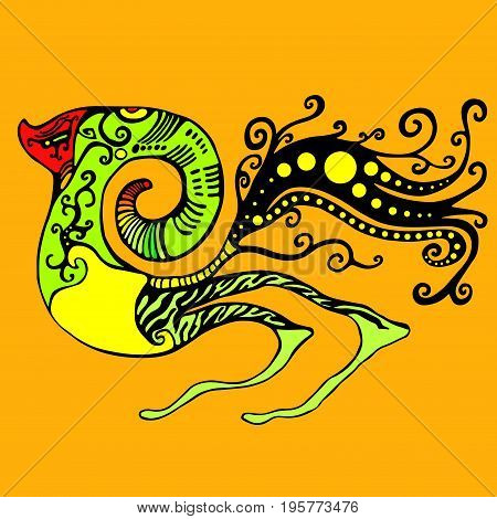 Alien creature isolated orange background. Vector hand drawn illustration fantastic shamanic monster.Colored page for adults and children. Book textile print poster design sticker card