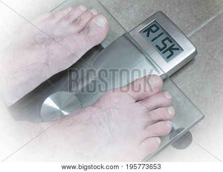 Man's Feet On Weight Scale - Risk