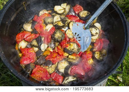 Basma - lamb with vegetables in a cauldron. Traditional Uzbek dish.