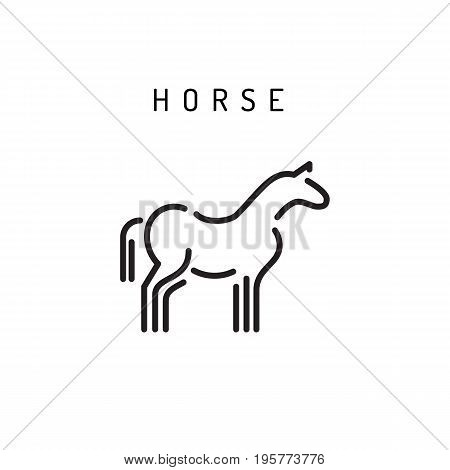 Vector horse outline icon isolated on a white background. A simplified silhouette of a horse, logo in the linear style