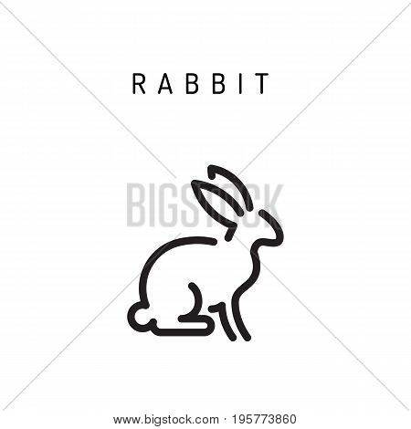 Vector rabbit outline icon farm animal isolated on a white background. A simplified silhouette of a rabbit, logo in the linear style