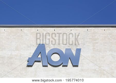 Kolding, Denmark - July 9, 2017: Aon is a British multinational corporation that provides risk management, insurance, reinsurance brokerage, investment banking and human resource solutions