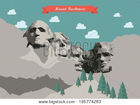 Mount Rushmore Vector illustration. National Memorial South Dakota United States
