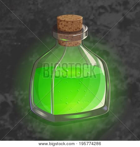 Bottle with green potion. Game icon of magic elixir in cartoon style. Bright design for app user interface. Shrinking, poison, augury, forefeeling, transform. Vector illustration. Icons Collection.