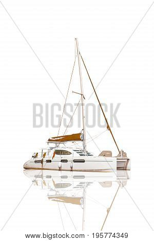 White Sailing Yacht isolated on white background