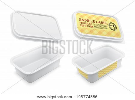 Vector labeled empty square container for butter melted cheese or margarine spread. Mockup isolated over the white background. Packaging template illustration.