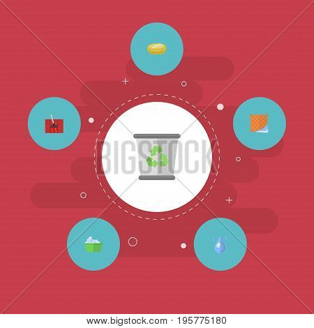 Flat Icons Washcloth, Garbage Container, Laundry And Other Vector Elements