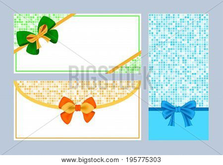 Realistic color bows collection for gift, ribbons. Modern set for anniversary, sale, present design. Isolated on white vector illustration.