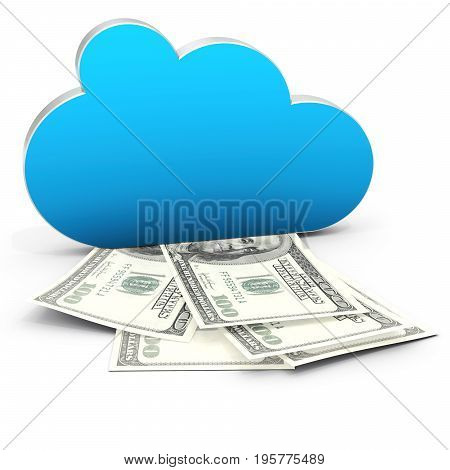 3D Cloud Computing In Finance And Profits With Dollar Bills