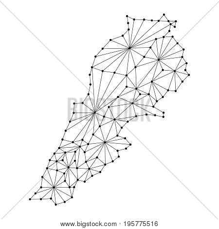 Lebanon map of polygonal mosaic lines network rays and dots vector illustration.