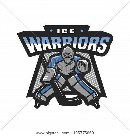 Ice warriors. Hockey goalkeeper logo, emblem Vector illustration