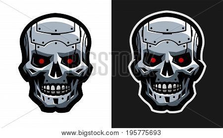 The metal skull of the robot. Two versions. Vector illustration.