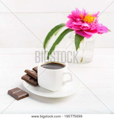 Morning Coffee And Flower Over White Wooden Table