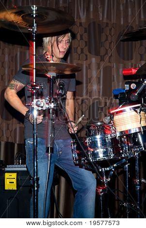 Live drummer in nightclub