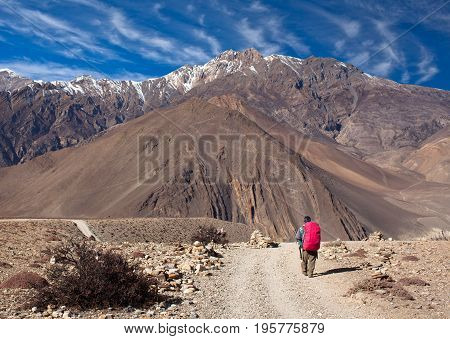 An unidentified hiker with backpack walking on the road from Muktinath to Jomsom on Annapurna Circuit trek in Annapurna Conservation Area, Nepal Himalaya