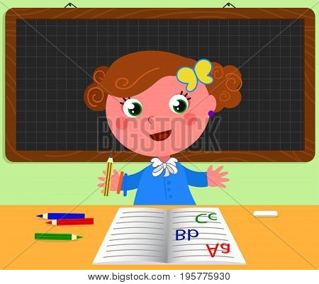 Cute girl at school desk with black board. There's empty space for your text in the board. Cartoon vector illustration
