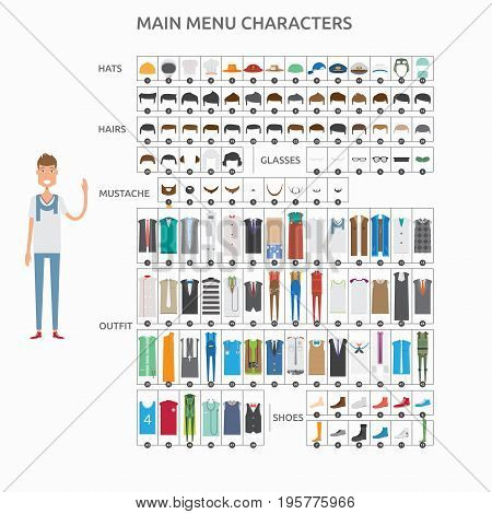 Character Creation Casualman   set of vector character illustration use for human, profession, business, marketing and much more.The set can be used for several purposes like: websites, print templates, presentation templates, and promotional materials.
