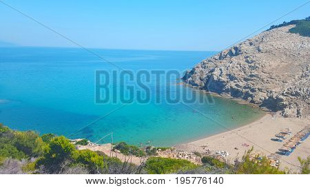 Beautiful Micros Aselinos beach on Skiathos island in Greece summer day in June