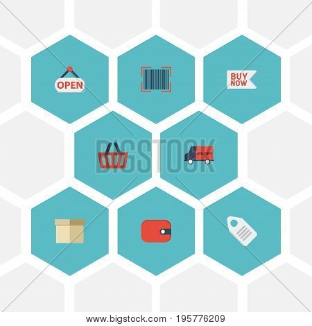Flat Icons Bag, Buy Now, Sign And Other Vector Elements