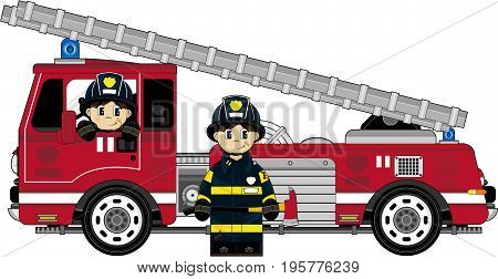 Cute Fireman & Engine.eps