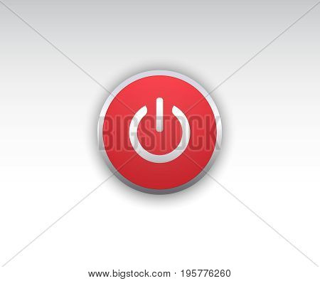 Realistic shutdown button vector illustration on white background