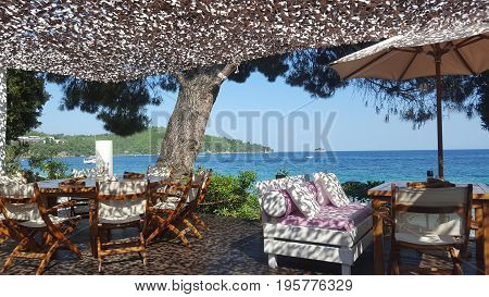 Beautiful Ambelakia beach on Skiathos island in Greece summer day in June
