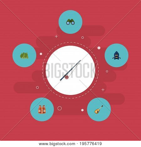 Flat Icons Fishing, Zoom, Wood And Other Vector Elements
