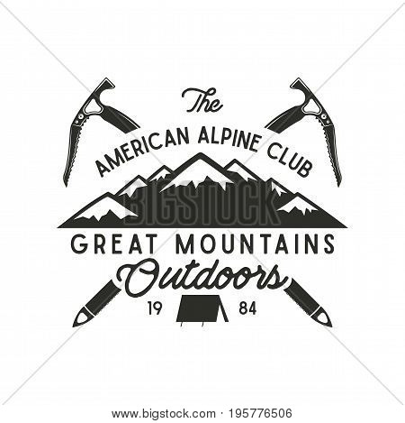Climbing t-shirt design. Hand drawn vintage alpine label with texts, silhouett mountain, climb equipment. Letterpress effect. hipster design.