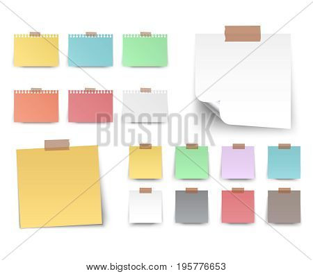 Colorful and white stickers square. Blank colorful sticky notes set. Sticky reminder notes realistic colored paper sheets office papers with shadow