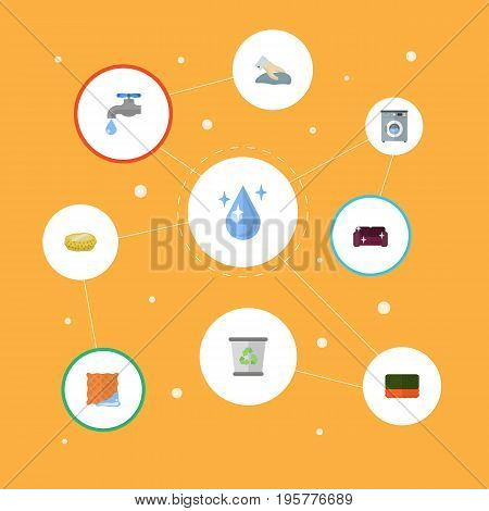 Flat Icons Garbage Container, Aqua, Washcloth And Other Vector Elements