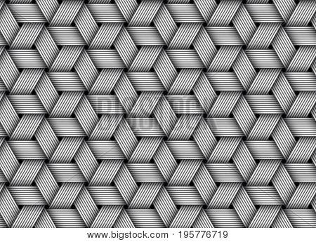 Weaved fiber seamless pattern background. Vector Illustration