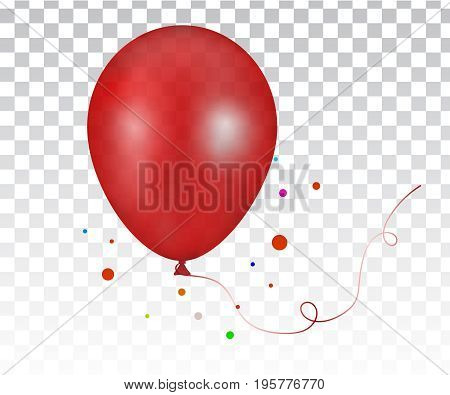 3d Realistic red Colorful Balloon. 3d Realistic Colorful Bunch of Birthday Balloons Flying for Party and Celebrations