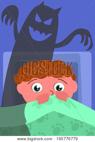 Scared boy in his bed with evil shadow cartoon vector illustration