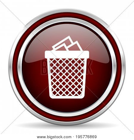 Trash can red glossy icon. Chrome border round web button. Silver metallic pushbutton.