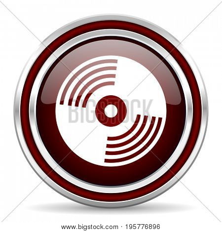 Vinyl music red glossy icon. Chrome border round web button. Silver metallic pushbutton.