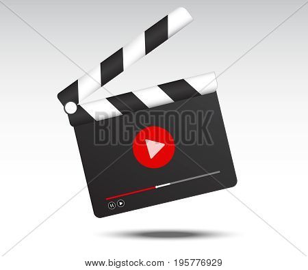 Realistic clapper board. Calpper board icon with videoplayer