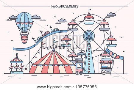 Nice horizontal banner of amusement park. Circus, ferris wheel, attractions, side view with aerostat in air. Colorful line art vector illustration
