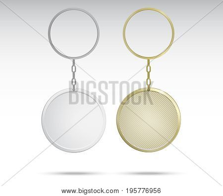 Realistic Metal and Plastic Keychains Set Round Designs web element vector. Gold keychains.