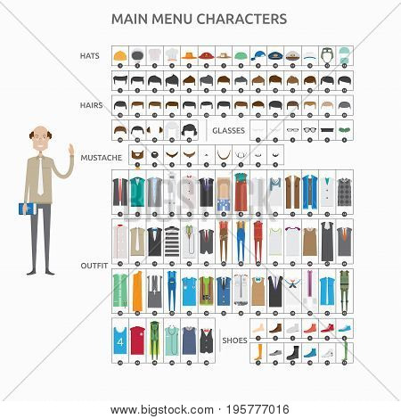Character Creation College Teacher   set of vector character illustration use for human, profession, business, marketing and much more.The set can be used for several purposes like: websites, print templates, presentation templates, and promotional materi