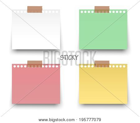 Colorful and white stickers square. Blank colorful sticky notes set. Sticky reminder notes realistic colored paper sheets office