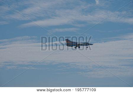 Penza Oblast, Russia - July 15, 2017: Radio control flying model of a MiG-23. The Russian Aeromodelling Cup in Bolshoy Vyas village.