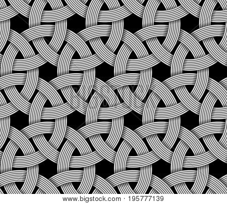 Seamless decorative pattern of interlaced fiber. Vector Illustration