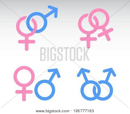 Male and female symbols combination vector illustration