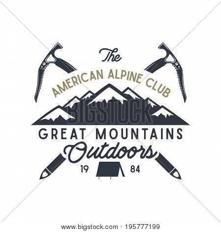 Great mountains outdoors label. Vintage hand drawn travel design. For camp mugs, t shirts, prints. Typography elements included. isolate on white.