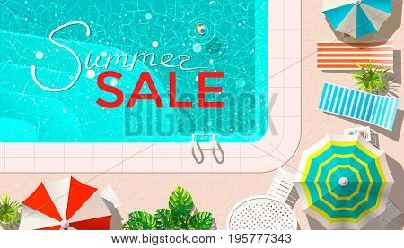 Vector illustration of summer sale announcement on pool with lounges from above.