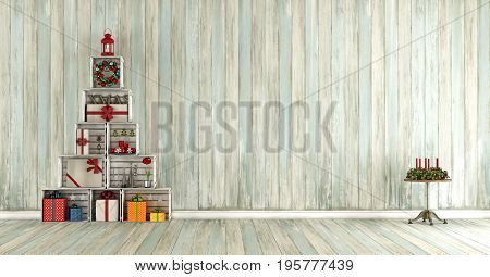 Old Wooden Room With Christmas Decorations