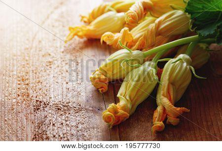 Yellow zucchini blossoms. Fresh zucchini flowers on table.
