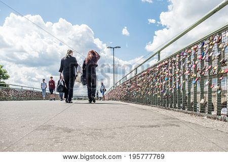 HAMBURG , GERMANY - JULY 14, 2017: Love locks clamping at the bridge to the St. Pauli piers